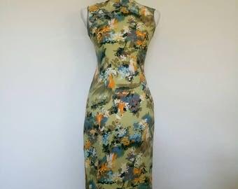 1960s Asian Style Dress Pastel colours Cheongsam Monet Print size XS