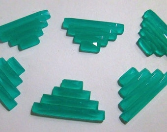 6 Vintage Frosted Green Glass Cabochons