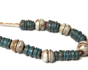 NECKLACE SET: set of 11 beads, rustic, natural, earthy - handmade jewelry components
