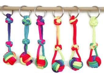 Keychain - Monkey Fist Keychain - Rainbow Keychain - Monkey Fist - Keychain - Kids Keychain - Paracord - Paracord Monkey Fist