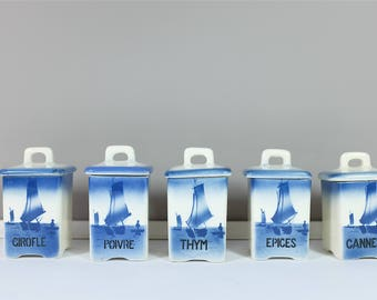 Vintage Ditmar Urbach canister set of four, in french - Ditmar Urbach faience canisters from 30' - Made in Czechoslovakia