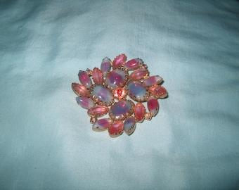 Vintage Costume Jewelry Rhinestone Brooch Pin, Pink & Blue Stones, WAS 25.00 - 50% = 12.50