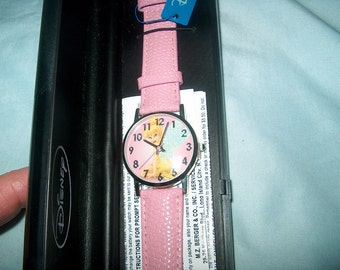 Vintage Disney Watch, Pink Leather Band, Tinkerbell, New in Box, Childrens, WAS 40.00 - 50%  = 20.00
