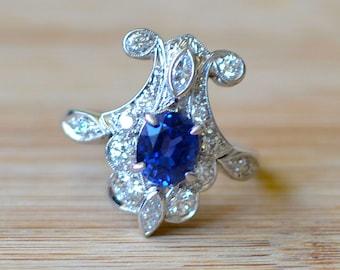 Sapphire Art Deco Style Ring - Sapphire Engagement Ring - Size 6 Ring - Art Deco Engagement Ring - Art Nouveau Ring - Platinum Sapphire Ring