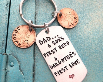 Personalized Dad Keychain, Fathers Day Gift From Son Daughter, Custom Daddy Key Ring, Gift For Him, Birthday Gift For Daddy