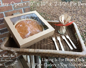 "BULK CASE • 100 Each •  10"" x 10"" x 2 1/2"" Kraft Easy Open Brown/Brown Bakery Box With Window  • Pie Box • Cookie Swap • Deli Box • Gift Box"