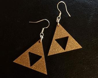 Legend of Zelda laser cut triforce earrings
