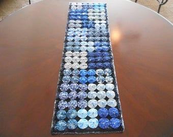 "9"" X 32"" Blue Yoyo Table Runner"