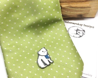 Polar Bear Shrinky Dink Tie Tack, Cute Illustrated Bear Tie Pin, Quirky Men's Accessory, Gift for Him, Wedding Gift For Husband, Boyfriend.