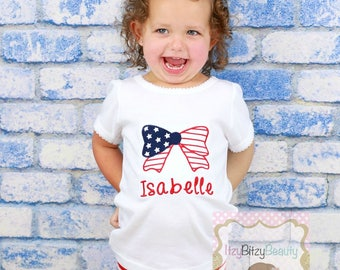 Girls Patriotic Bow Shirt 4th Fourth of July Red White And Blue Flag Embroidered Custom Name