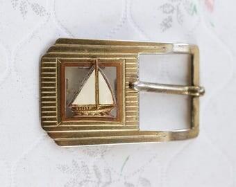 Sailing Ship Belt Buckle - vintage Nautical Aleterd Coture
