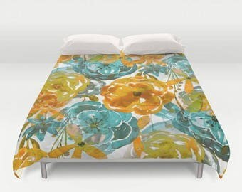 Floral Duvet Cover, Comforter Cover, Twin Queen King, Teal Mustard Gold White, Twin Queen King