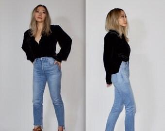 "Vintage ""Travel Smith"" Black Velvet Silk Blend Button Down Long Sleeve Tunic Top Size Medium"