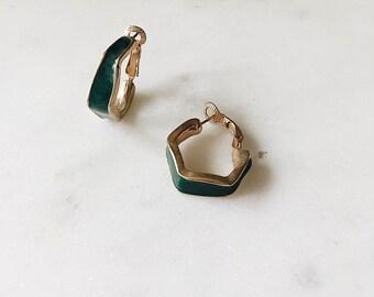 1980's Dead Stock Vintage Gold Green Enamel Hexagon Hoop Earrings