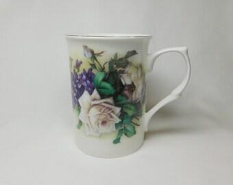 Vintage Stechcol Gracie Bone White Rose Purple Lilac Flowers Porcelain Cup Mug Silve Trim Green Leaves Handle