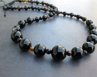 Black Agate Necklace, Adjustable Length, Black Onyx Agate Jewelry, Graduated Beaded Necklace, Gift For Her, LBD