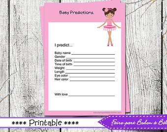 "Digital printable - Baby Shower ""Ballerina"" Prediction Card  -  French and english"