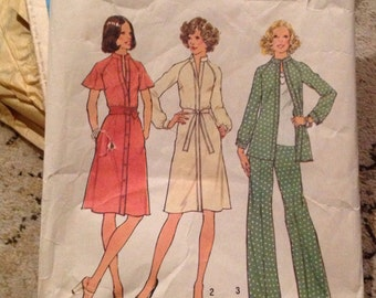Vintage sewing pattern 7092 Simplicity miss size 12 bust 34 , dress, top, pants, 13 pieces, cut pattern, with instructions