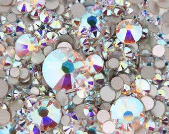"720 Pcs- Swarovski Rhinestone ""Crystal AB"" 2058/2088 Assorted Sizes"