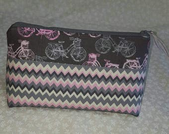 BICYCLE TRAVEL BAG //Pink/Gray ZigZag Pattern/Cosmetic Bag/Pencil Bag/Crafters Bag/Sewing Bag/Organizer/Zipper Pouch/Carryall/Medicine