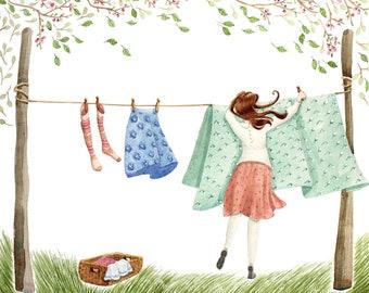 Spring illustration, Clothes illustration, Washing illustration Gift for her, Mother's gift, Washing line illustration, Bright and breezy