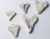 Denim Marble Heart Pendants - 5 - hand made ceramics pendants