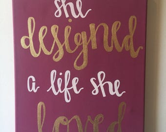 She Designed a Life She Loved Canvas // Chic Decor // Wine and Gold Painting // 11 x 14