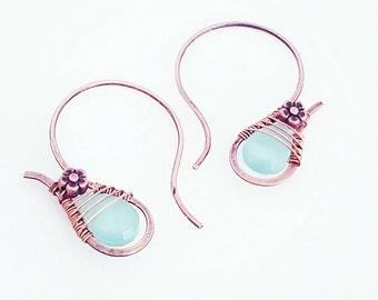 Aqua statement earrings wire, blue chalcedony hoops, half hoop earrings copper wire jewelry, wire wrapped hoops, half copper hoops handmade