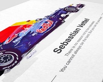 Sebastian Vettel F1 Print - Limited Edition - Red Bull Racing Gift