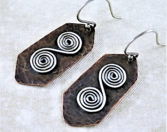 Copper Earrings ~ Spiral Earrings ~ Mixed Metal Earrings ~ Lightweight Earrings ~ Geometric Earrings ~ Everyday Earrings – Dangle Earrings