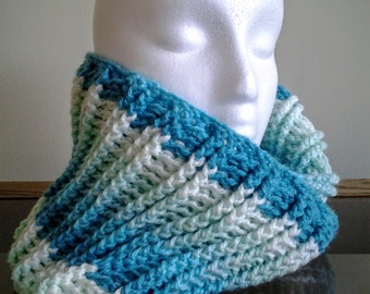 Shades of Teal Cowl / Teal Infinity Scarf