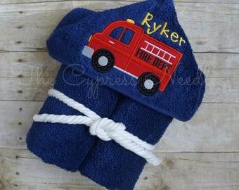 Firetruck Towel, Hooded Towel, Fire Truck Towel, Firetruck Bath Towel, Fireman Towel, Truck Hooded Towel, Toddler Hooded Towel, Fire Truck