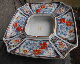 1950s large floral in the  style of Imari floral ashtray from japan near mint