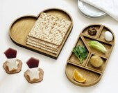 Heart Tangram Seder plate and Matzo tray, Passover gift,  Tangram inspired Modern Judaica gift for Pessah hostess
