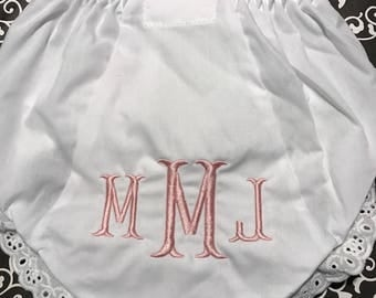 Cotillion Monogrammed Diaper Covers Bloomers Size 0-6-12-18-24-2T-3T-4T White Diaper Cover