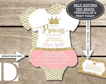 Little Princess Baby Shower Invitation, Onesie Invitation, Tutu, Pink, Gold, Glitter, Chevron, Self-Editing PDF Invite, BONUS Raffle Ticket