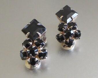 Black Rhinestone Earrings, Vintage Black Cluster Clips, Retro, Goth, Glamour!