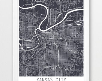 Kansas City Urban Map Poster, Kansas City Street Print, Kansas City Grey Map, Modern Wall Art, Home Decor, Travel Poster Gift, Printable Art
