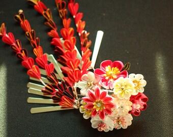 kimono accessories kanzashi Red-kanzashi  geisha hair accessories, kanzashi hair stick, geishas hair piece, tsumami kanzashi,