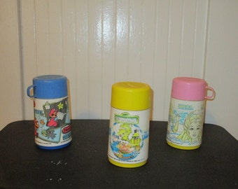 Vintage Various Plastic Lunchbox Thermos * 3 included *