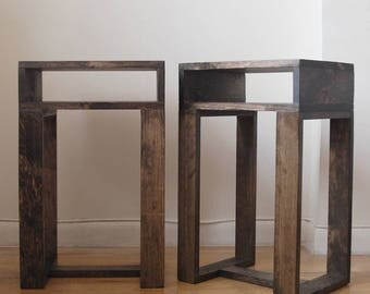 Pair of Reclaimed Wood Thin Side Table with Shelf, Set of 2 End Tables, Nightstand, Pedestal, Plant Stand- Dark Walnut