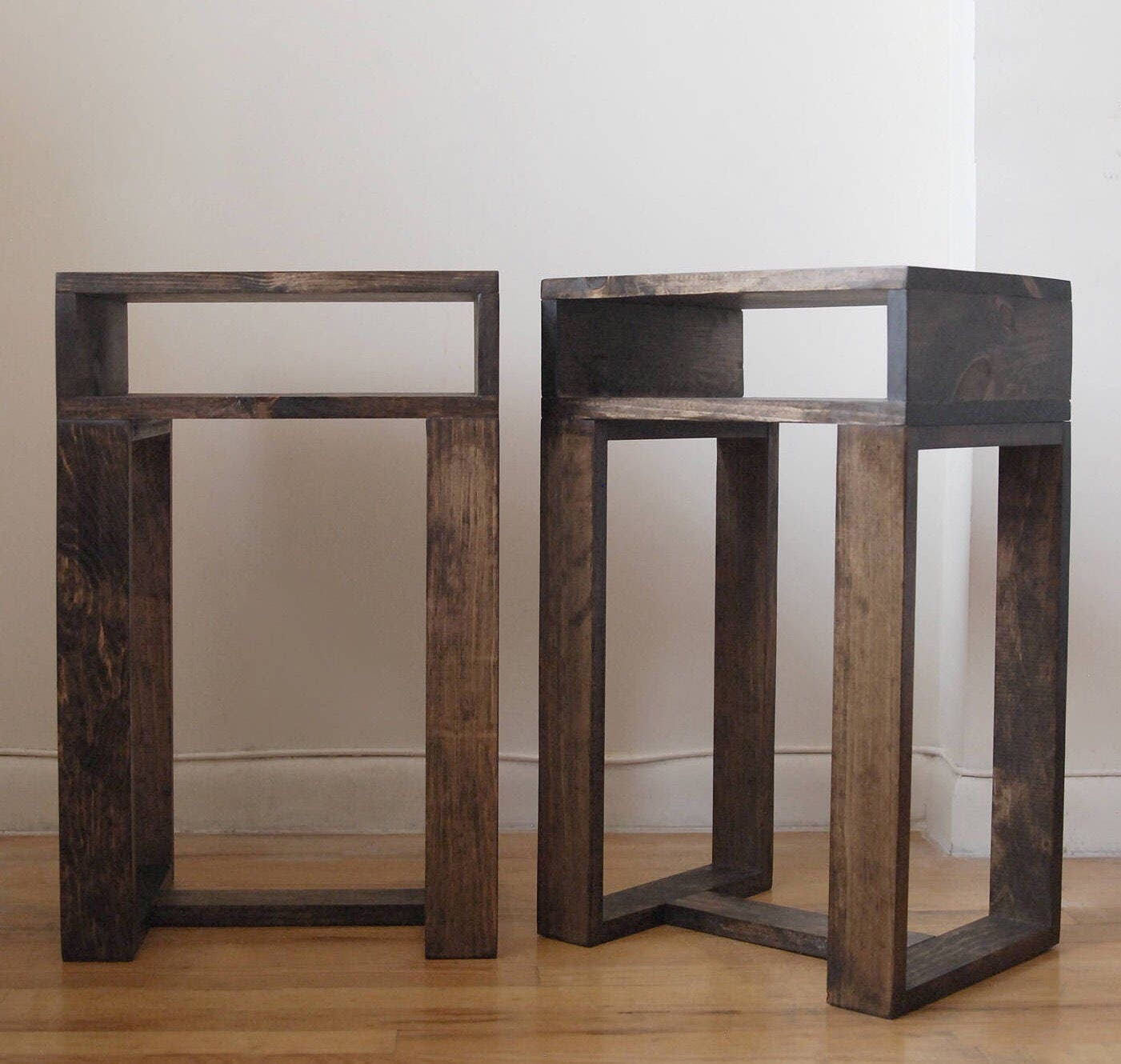 Pair of reclaimed wood thin side table with shelf set of 2 for Thin side table