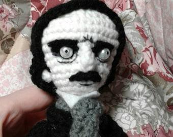 Custom Edgar Allan Poe Amigurumi Crochet Doll - MADE TO ORDER
