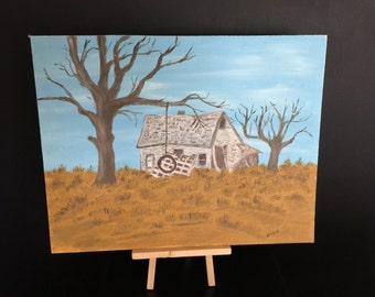 60s Outsider Art / House of the Rising Sun / Vtg Painting / Kitsch / Landscape / Mid-century / Blues / Browns / Wall Art / Original Artwork
