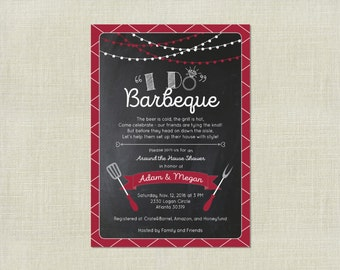 Wedding Engagement Shower / I Do BBQ Barbecue Barbecue / Cook Out Grilling Invitation / Chalkboard Garland / Custom colors / Printable