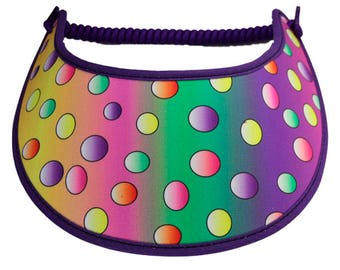 Visor with fabric trimmed edges.   Multicolored dots M100.