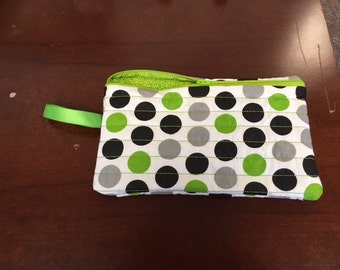 Hand made lime green, black and gray dotted large zippered cosmetic/kindle/diaper/anything bag