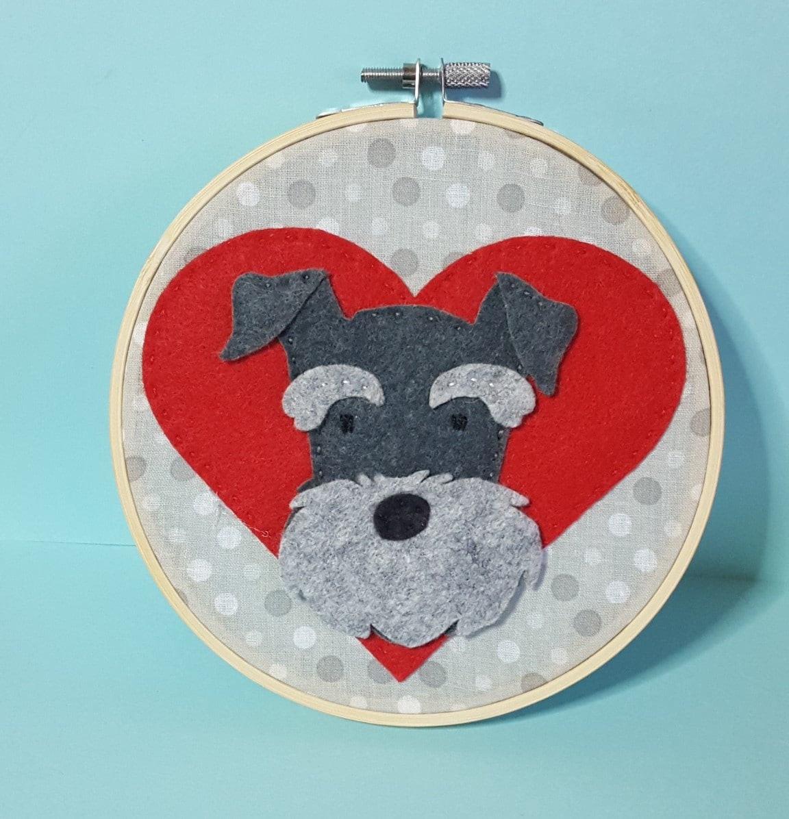 Dog Gifts For Her Part - 36: Schnauzer Valentine Wall Art, Dog Lover Gift, Hoop Art, Wall Decor, Gift  For Her, Miniature Schnauzer, Nursery Decor, Felt Dog