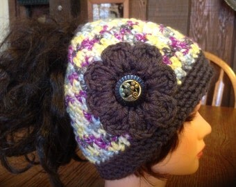 Crochet Ponytail Hat, Women's Ponytail Hat, Teen Ponytail Hat, Messy Hair  Hat, Messy Bun Hat, Cloche