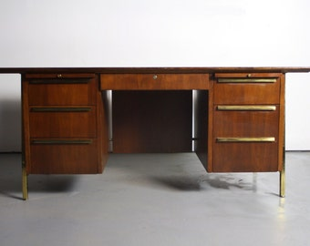 Mid Century Modern Executive Desk in Walnut w/ Brass Detailing